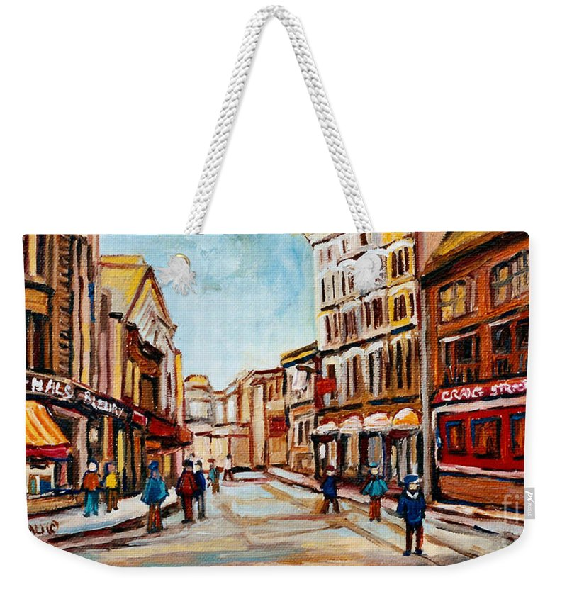Montreal Weekender Tote Bag featuring the painting Blumenthals On Craig Street by Carole Spandau