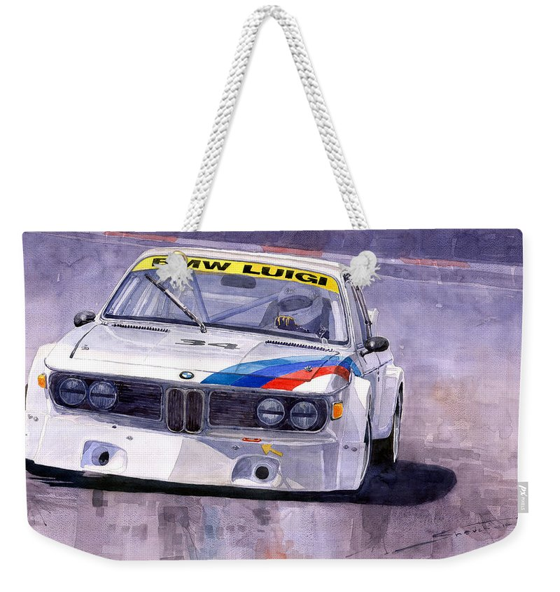 Watercolor Weekender Tote Bag featuring the painting Bmw 3 0 Csl 1972 1975 by Yuriy Shevchuk