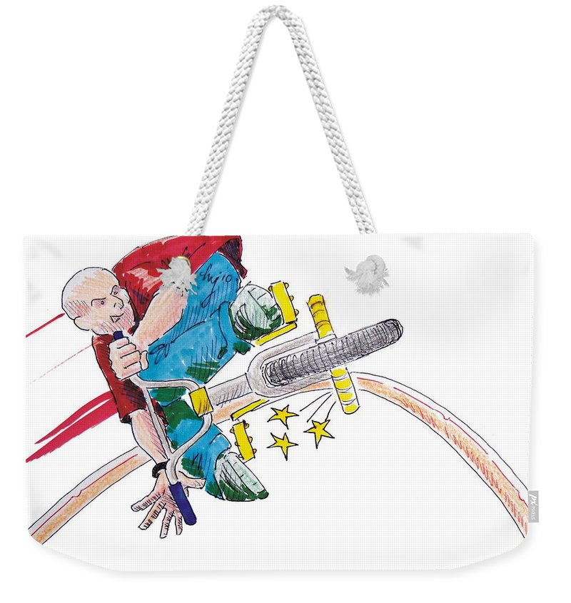 Mike Jory Gary Weekender Tote Bag featuring the painting Bmx Drawing Peg Grind by Mike Jory