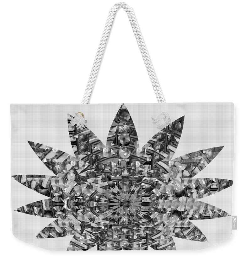 Star Weekender Tote Bag featuring the photograph Bnw Black N White Star Ufo Art Sprinkled Crystal Stone Graphic Decorations Navinjoshi Rights Manag by Navin Joshi