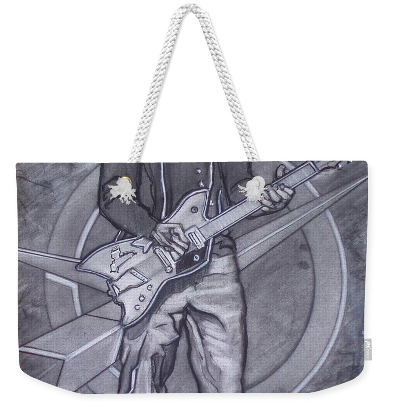 Texas;charcoal;king Of Rock;rock And Roll;music;1950s;blues;musician;funk;electric Guitar;marble;soul Weekender Tote Bag featuring the drawing Bo Diddley - Have Guitar Will Travel by Sean Connolly