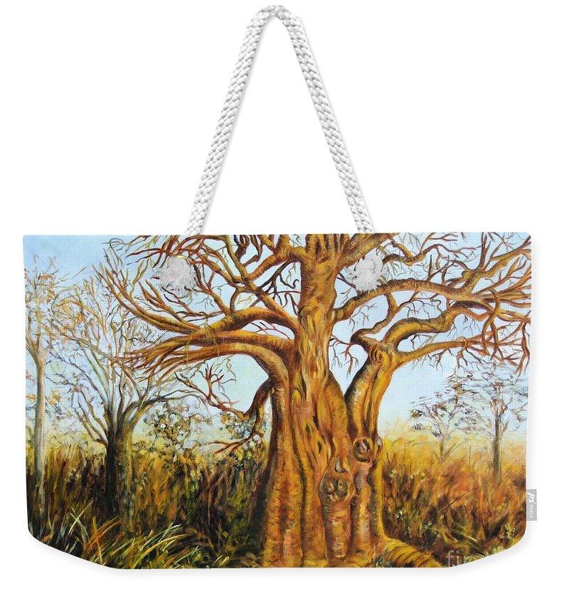 Trees Weekender Tote Bag featuring the painting Baobab Tree by Caroline Street