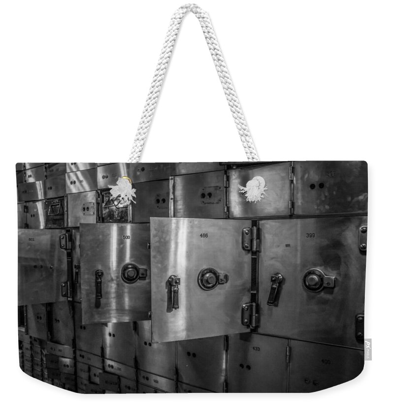 Chicago Weekender Tote Bag featuring the photograph Chicago Board Of Trade Deposit Boxes by Mike Burgquist