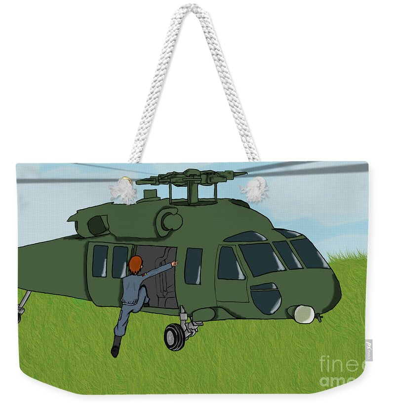 Helicopter Weekender Tote Bag featuring the digital art Boarding A Helicopter by Yael Rosen
