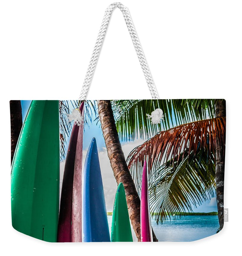 Surfboards Weekender Tote Bag featuring the photograph Boards Of Surf by Karen Wiles