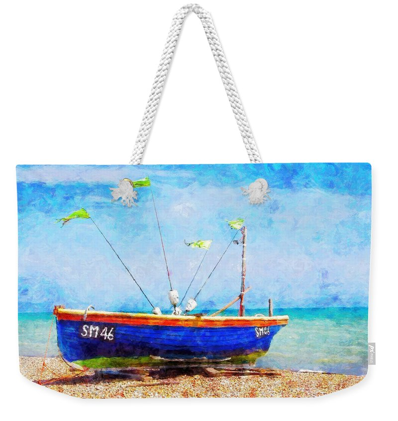 Boat Weekender Tote Bag featuring the painting Boat Ashore by Sandy MacGowan