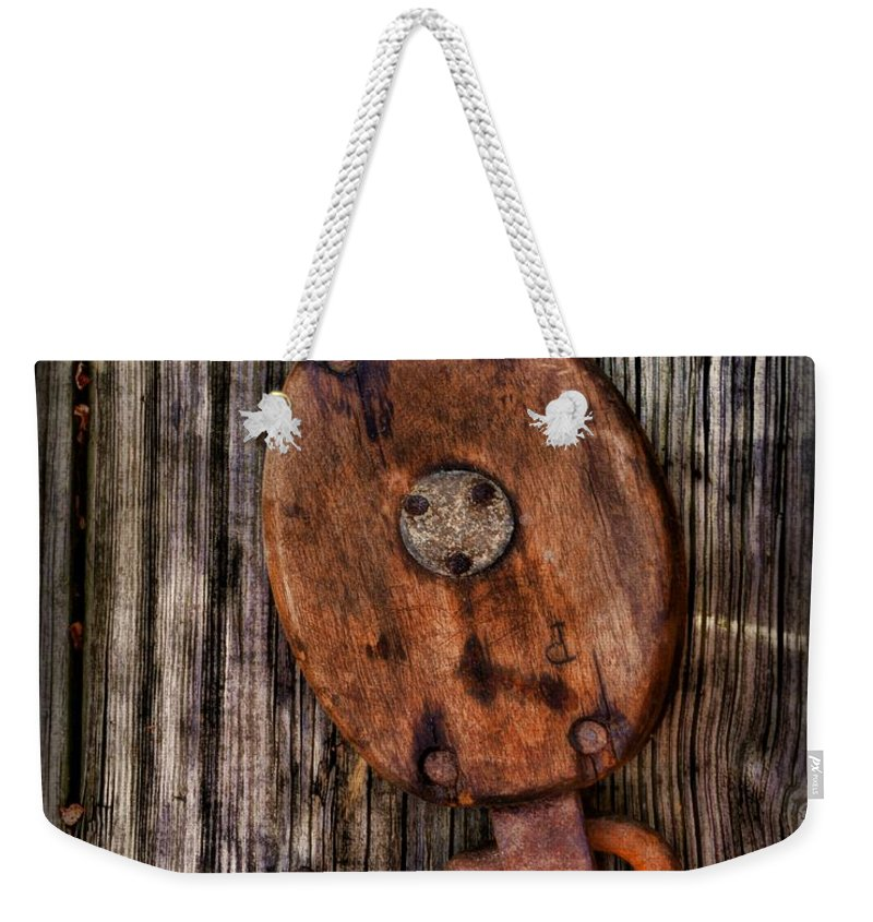 Paul Ward Weekender Tote Bag featuring the photograph Boat - Block And Tackle by Paul Ward