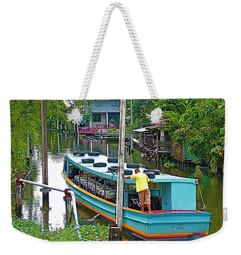 Boat For Transportation On Canals In Bangkok Weekender Tote Bag featuring the photograph Boat For Transportation On Canals In Bangkok-thailand by Ruth Hager