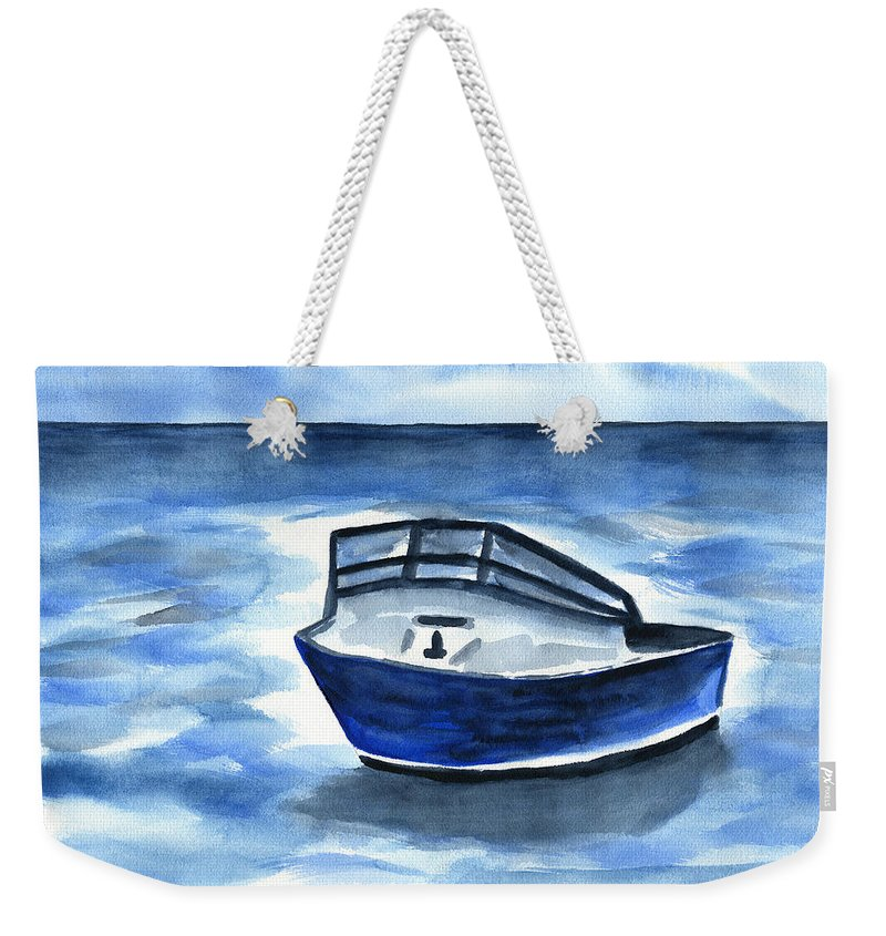 Boat Watercolor Weekender Tote Bag featuring the painting Boat In Grand Cayman by Frank Bright