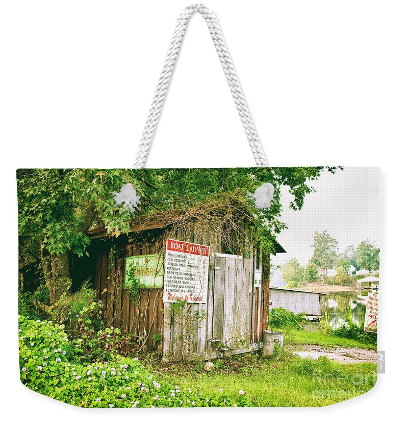 Outhouse Weekender Tote Bag featuring the photograph Boat Launch Outhouse - Texture Bw by Scott Pellegrin