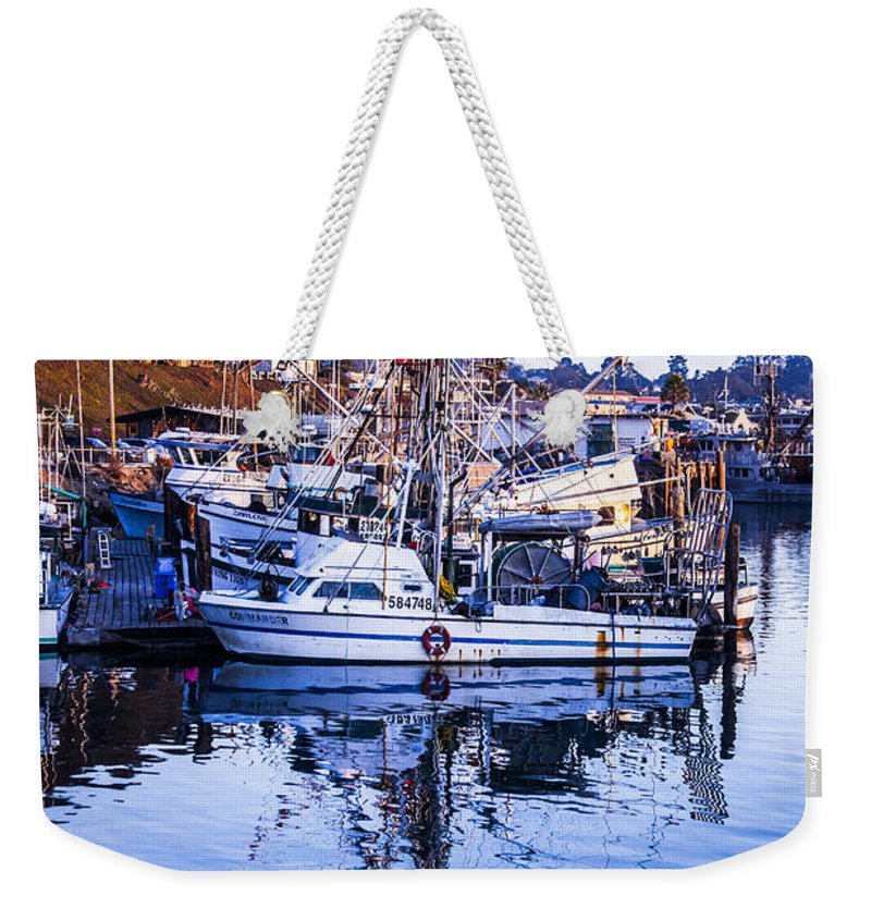 Boat Mast Reflection Weekender Tote Bag featuring the photograph Boat Mast Reflection In Blue Ocean At Dock Morro Bay Marina Fine Art Photography Print by Jerry Cowart
