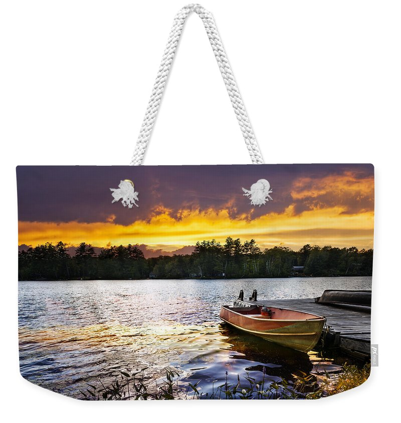 Boat Weekender Tote Bag featuring the photograph Boat On Lake At Sunset by Elena Elisseeva