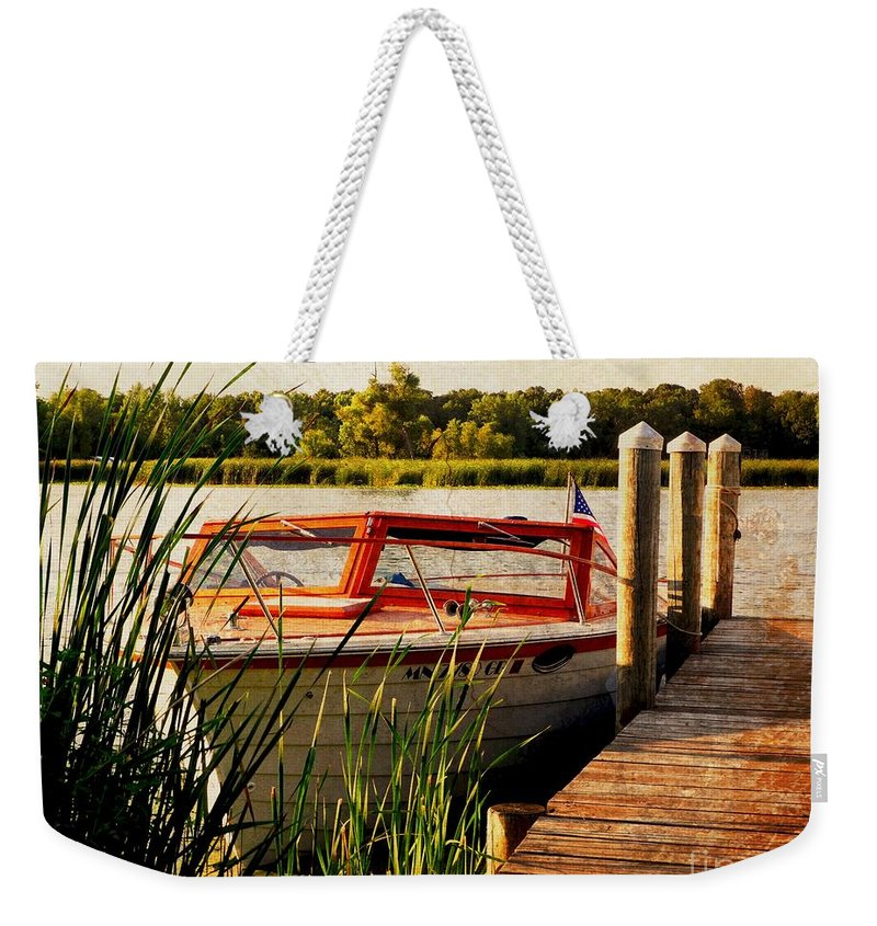 Boat Weekender Tote Bag featuring the photograph Boat On Lake by Beth Ferris Sale