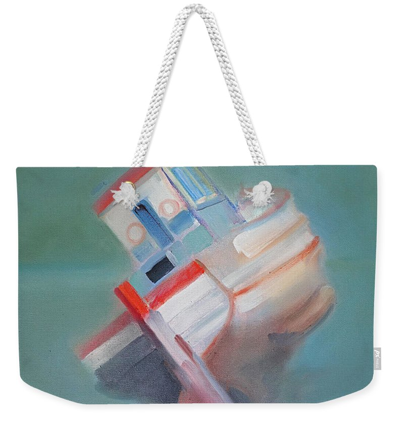 Fishing Boat Weekender Tote Bag featuring the painting Boat Retired Tavira by Charles Stuart