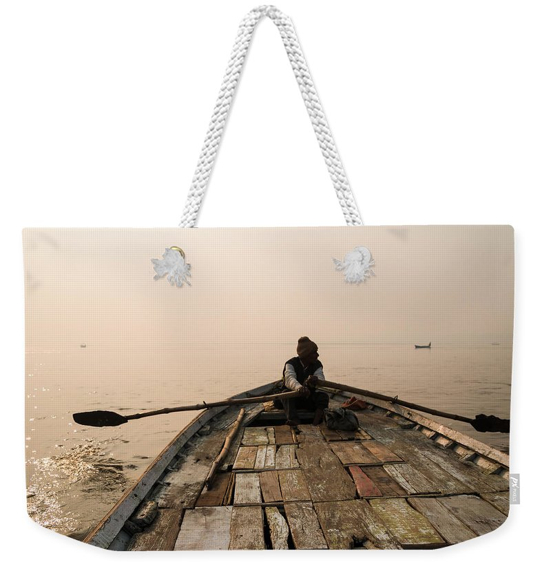 Allahabad Weekender Tote Bag featuring the photograph Boating At Sangam by Gaurav Singh