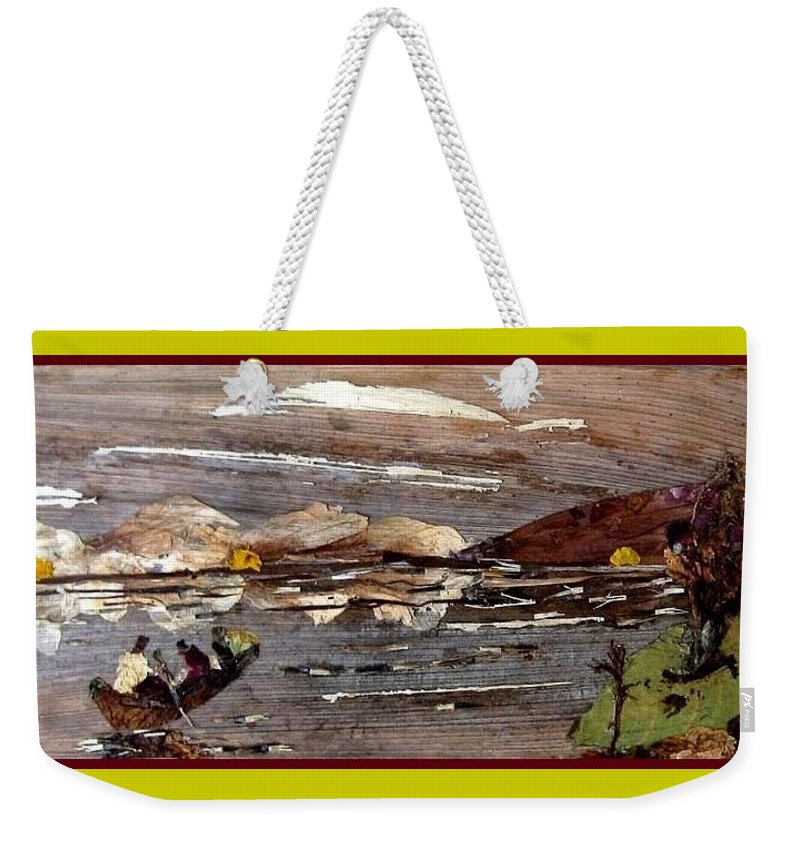 Boating Scene Weekender Tote Bag featuring the mixed media Boating In River by Basant Soni