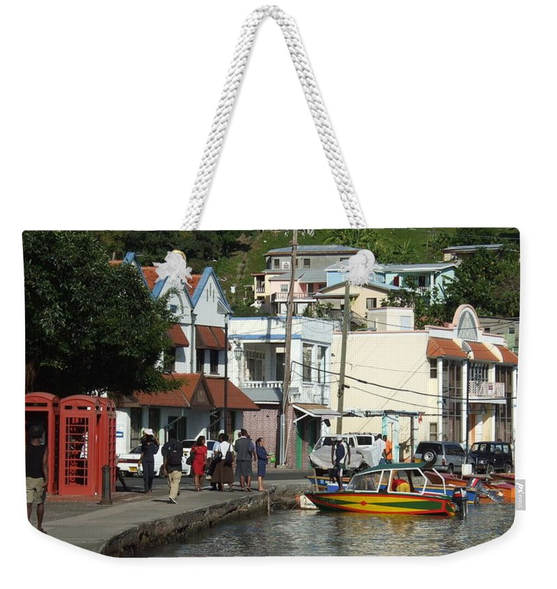 Weekender Tote Bag featuring the photograph Boats And Telephones by Katerina Naumenko
