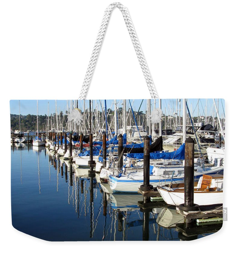 Boats Weekender Tote Bag featuring the photograph Boats At Rest. Sausalito. California. by Ausra Huntington nee Paulauskaite