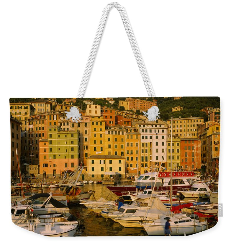 Photography Weekender Tote Bag featuring the photograph Boats At The Harbor, Camogli, Liguria by Panoramic Images