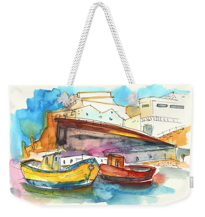 Portugal Art Weekender Tote Bag featuring the painting Boats In Ericeira In Portugal by Miki De Goodaboom