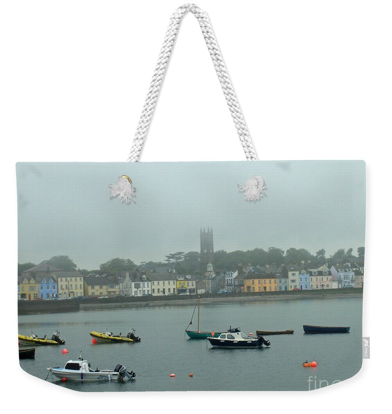 Boat Weekender Tote Bag featuring the photograph Boats In Irish Sea by Brenda Brown