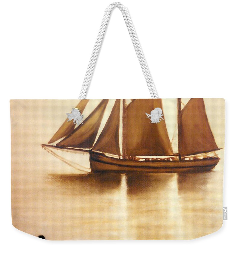 Painting Weekender Tote Bag featuring the painting Boats In Sun Light by Janice Dunbar