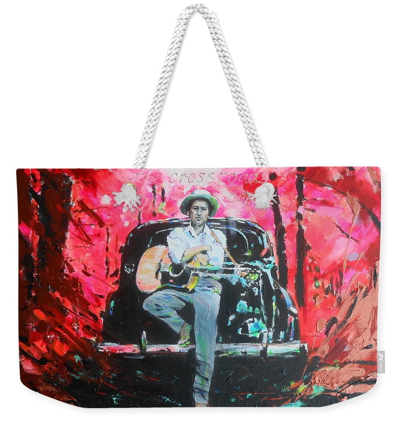 Bob Dylan Weekender Tote Bag featuring the painting Bob Dylan - Crossroads by Lucia Hoogervorst