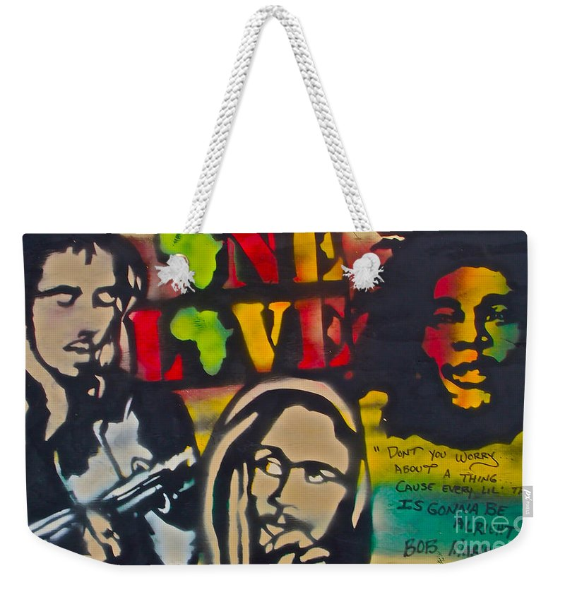 Hip Hop Weekender Tote Bag featuring the painting Bob Marley Big by Tony B Conscious
