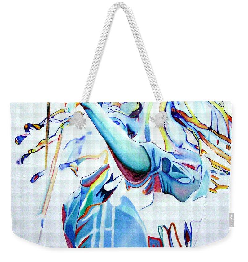 Bob Marley Weekender Tote Bag featuring the painting Bob Marley Colorful by Joshua Morton