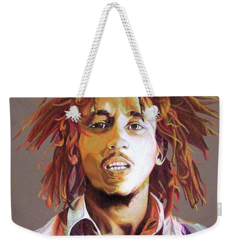 Bob Marley Weekender Tote Bag featuring the drawing Bob Marley Earth Tones by Joshua Morton