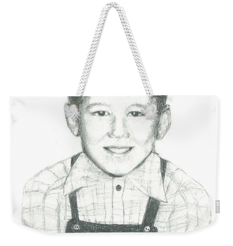 Child Weekender Tote Bag featuring the drawing Bobby by Barbara Jewell