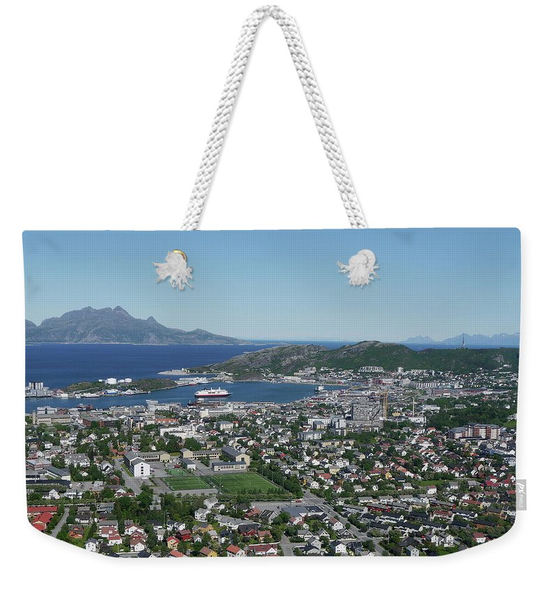 Tranquility Weekender Tote Bag featuring the photograph Bodø Airial View, North Norway by Monica Mostue