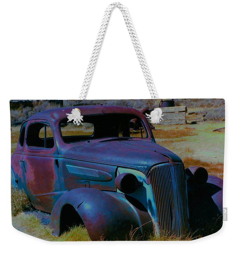 Barbara Snyder Weekender Tote Bag featuring the digital art Bodie Plymouth by Barbara Snyder