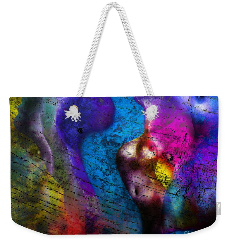 Abstract Weekender Tote Bag featuring the photograph Bodies Colorful by Edmund Nagele