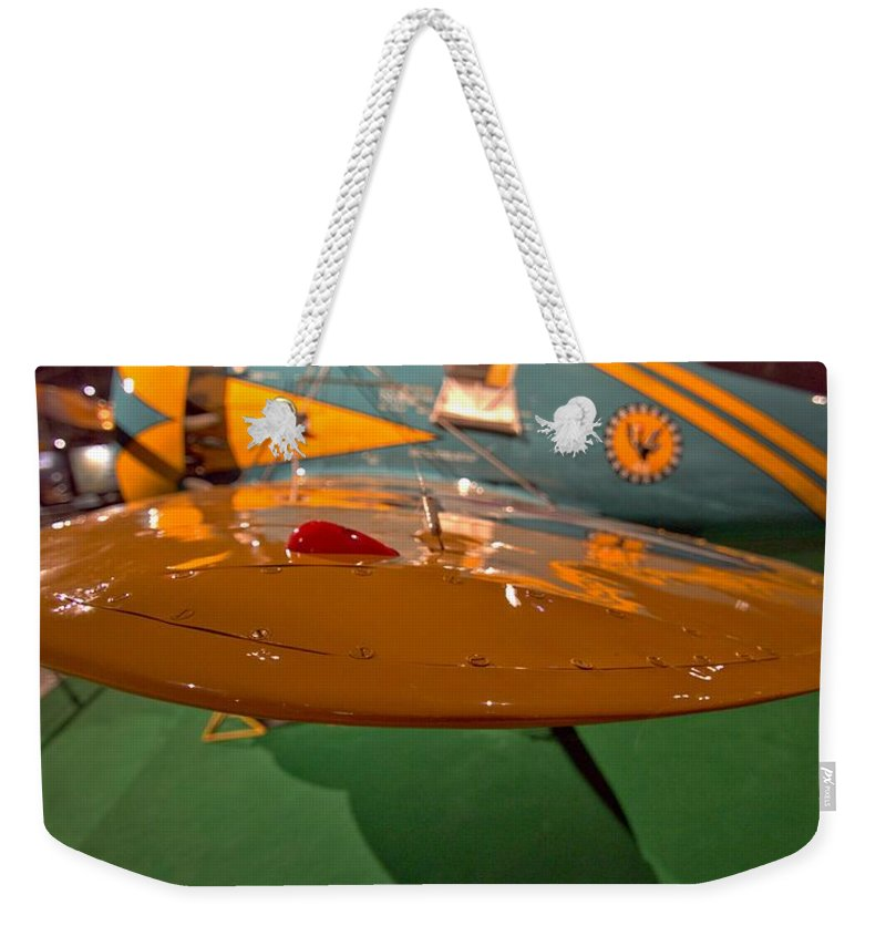 Boeing P26 Peashooter Wing Weekender Tote Bag featuring the photograph Boeing P26 Peashooter Wing by Dan Sproul