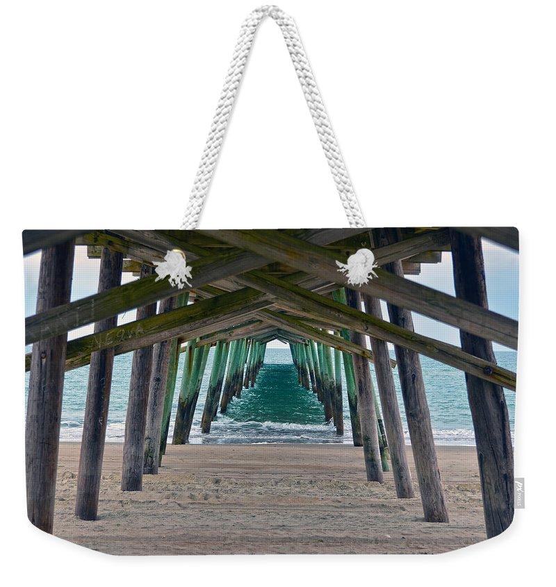 Bogue Banks Fishing Pier Weekender Tote Bag featuring the photograph Bogue Banks Fishing Pier by Sandi OReilly