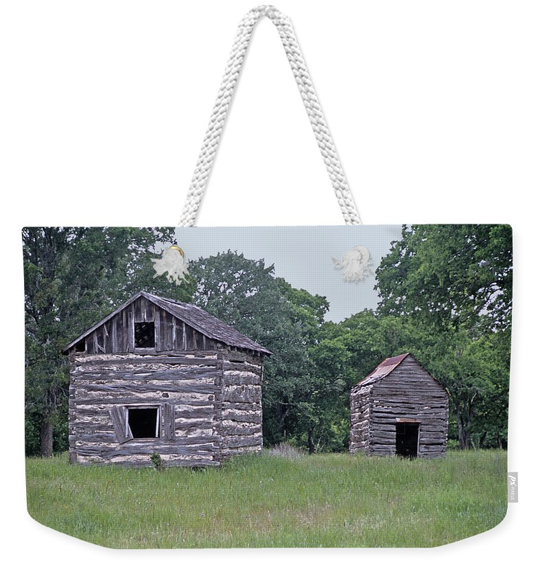 Cabins Weekender Tote Bag featuring the photograph Bohls Cabins At Bee Cave I I I by Jim Smith