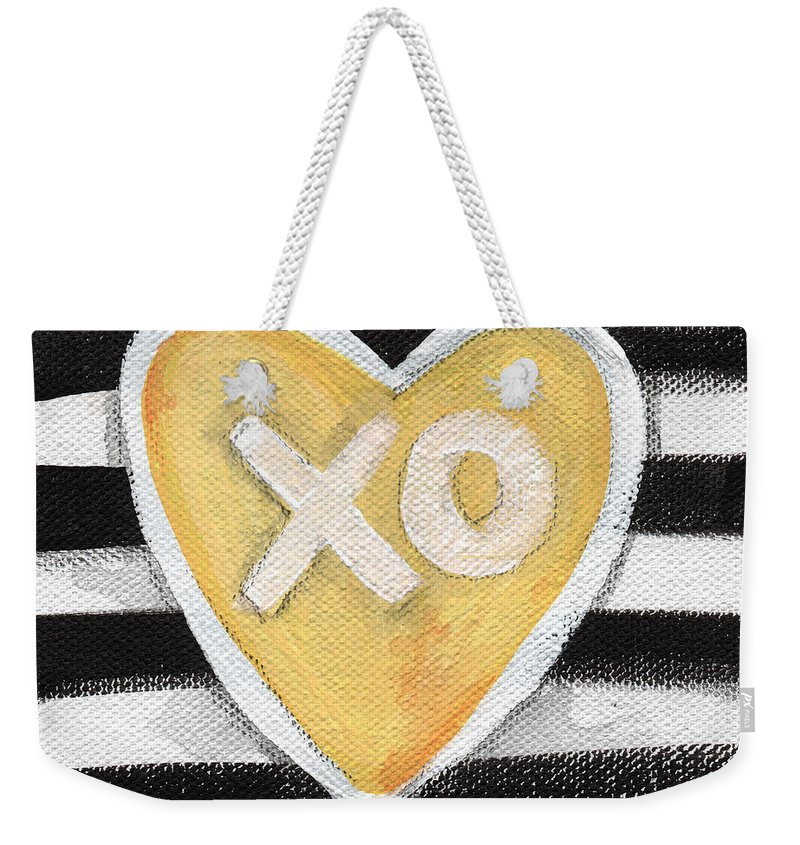 Love Weekender Tote Bag featuring the painting Bold Love by Linda Woods