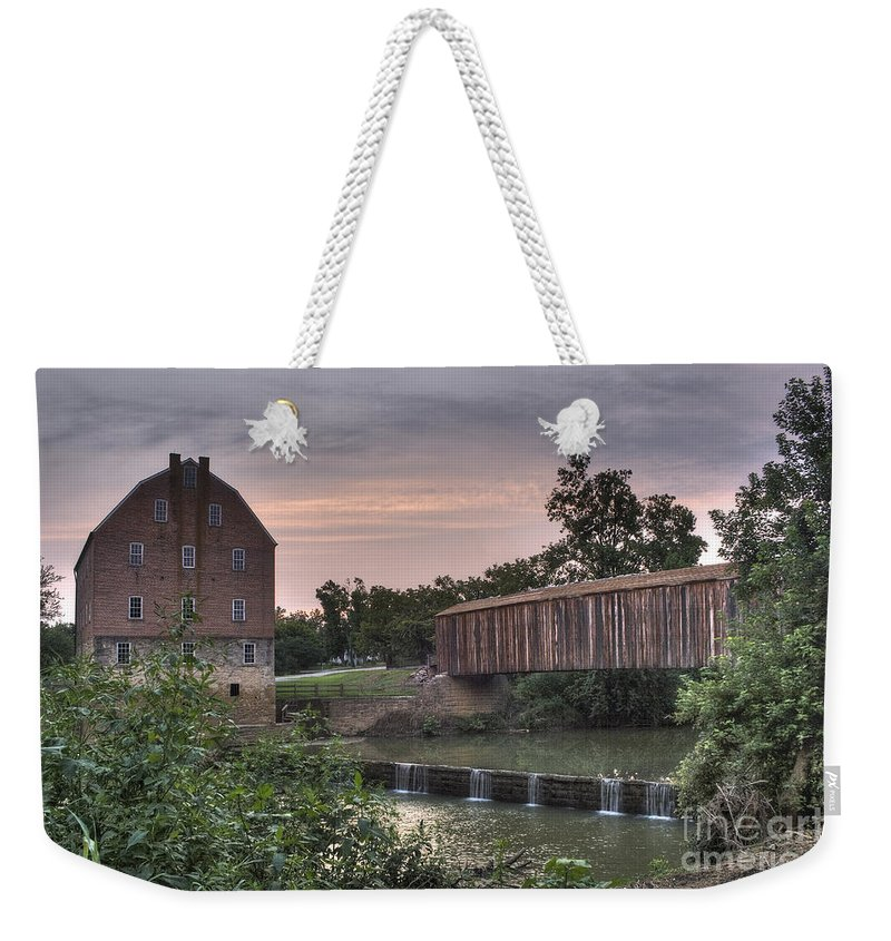 2008 Weekender Tote Bag featuring the photograph Burfordville Mill by Larry Braun