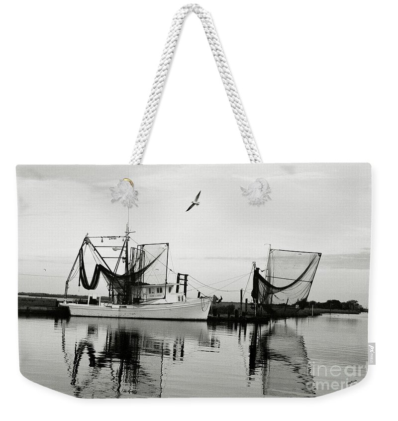 Shrimp Boat Weekender Tote Bag featuring the photograph Bon Temps by Scott Pellegrin