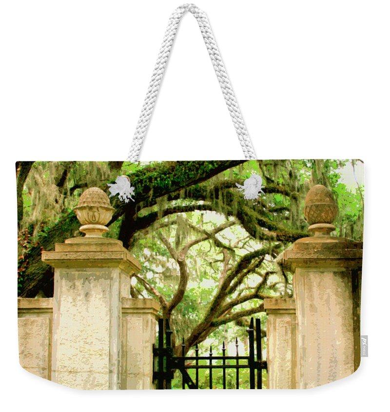 Savannah Weekender Tote Bag featuring the photograph Bonaventure Gate Savannah Ga by William Dey