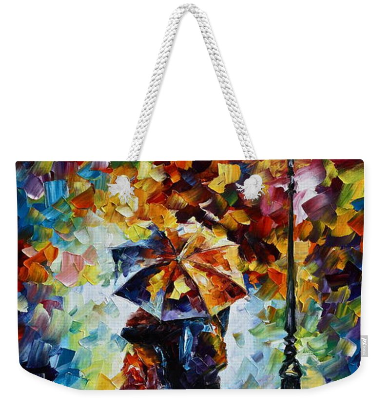 Rain Weekender Tote Bag featuring the painting Bonded By Rain 2 by Leonid Afremov