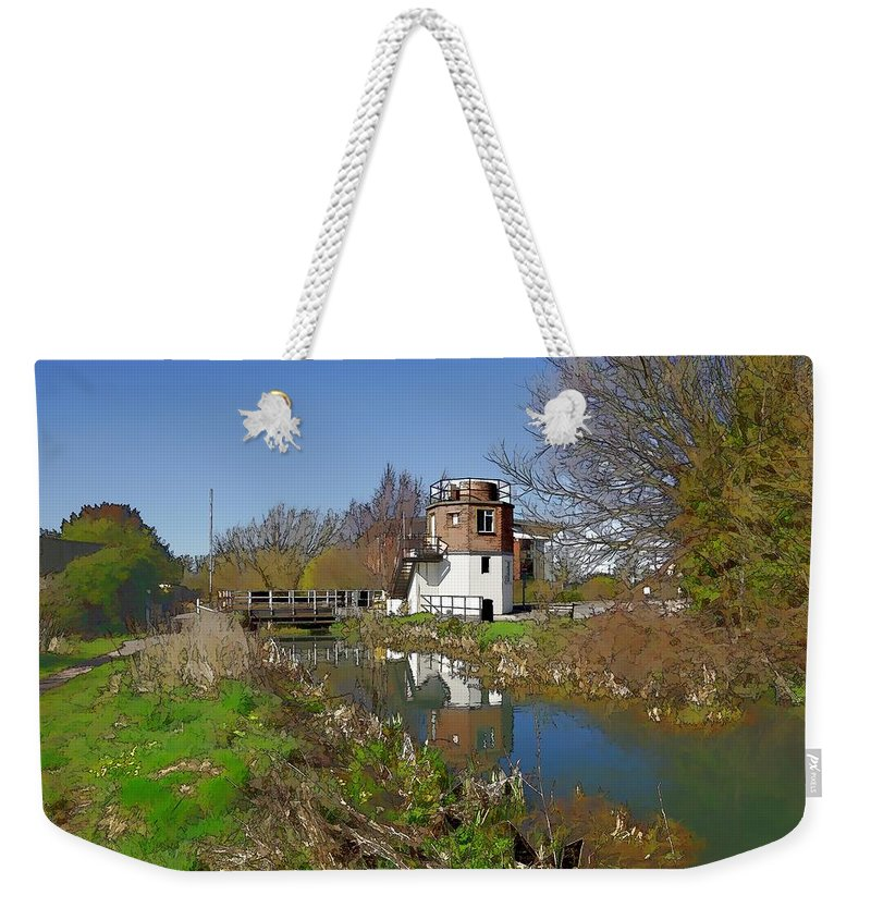 Canal Weekender Tote Bag featuring the photograph Bonds Mill Area Stroudwater Canal by Ron Harpham