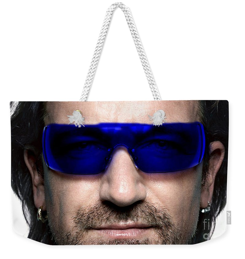 U2 Photographs Weekender Tote Bag featuring the mixed media Bono Of U2 by Marvin Blaine