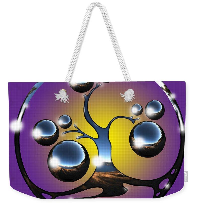 Tree Weekender Tote Bag featuring the digital art Bonsai Chrome Logo by Robert Fenwick May Jr