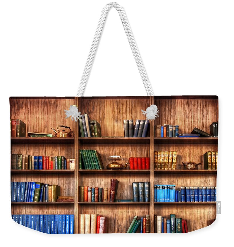 Book Weekender Tote Bag featuring the photograph Book Shelf by Svetlana Sewell