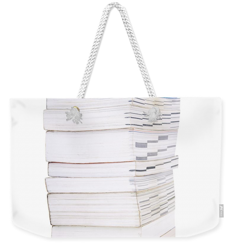 Heap Weekender Tote Bag featuring the photograph Books Isolated by Tim Hester