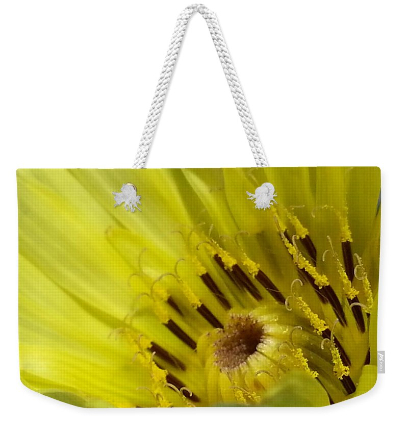 Yellow Weekender Tote Bag featuring the photograph Boom by Caryl J Bohn