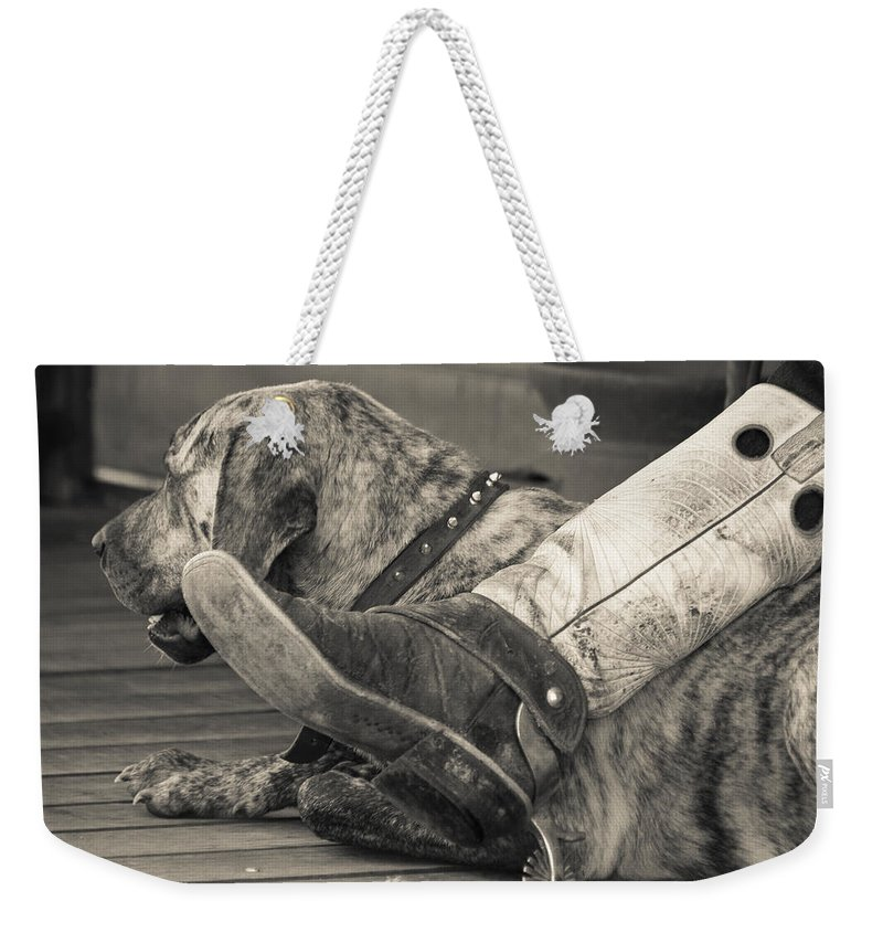 Made In America Weekender Tote Bag featuring the photograph Boot Scootin by Steven Bateson