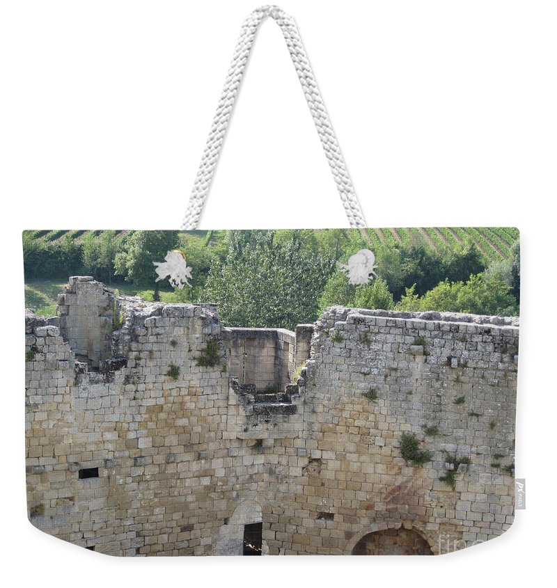 Vineyard Weekender Tote Bag featuring the photograph Bordeaux Castle Ruins With Vineyard by HEVi FineArt